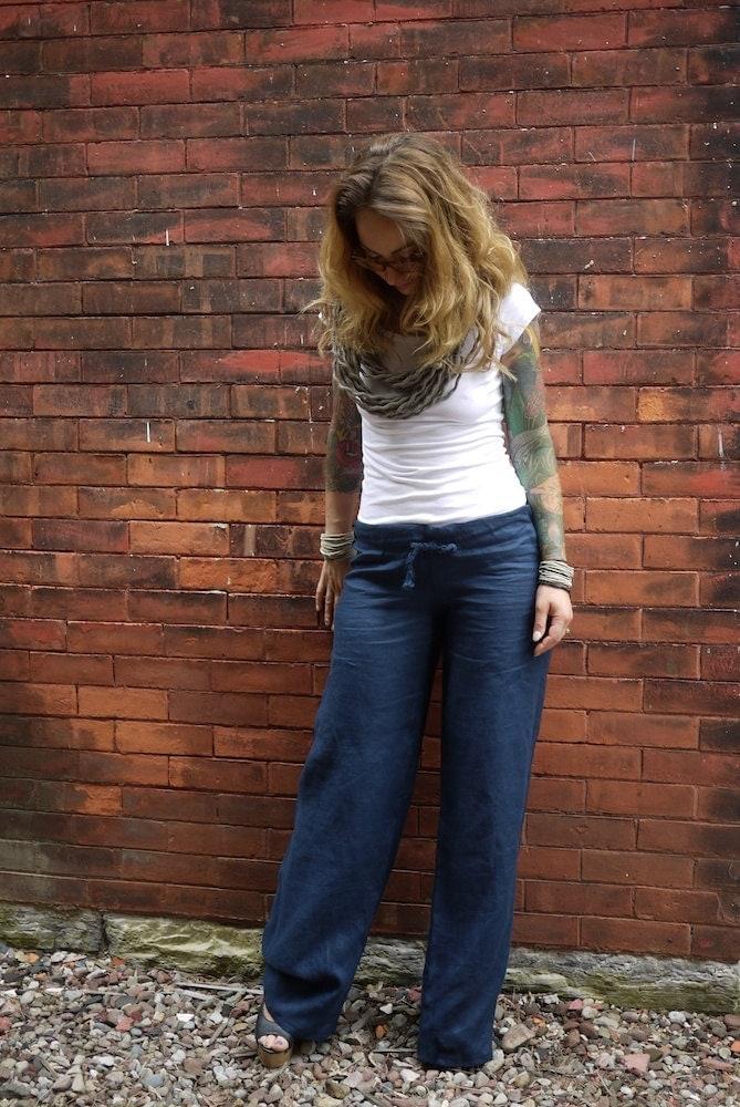 Navy Blue Women's Drawstring Low Rise Wide Leg Linen