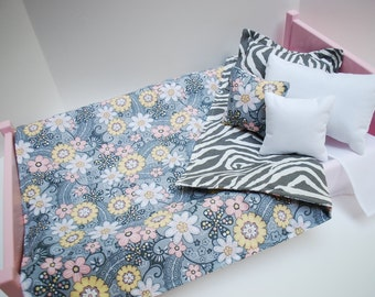 American Girl Doll Clothes and Accessories 6 Pc Bedding Set - Grey Zebra and Flowers for 18 Inch Doll