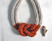 Statement necklace with big nautical knot. Ecru and burnt orange.