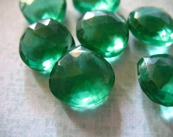 Shop Sale.. QUARTZ HEART Briolettes, Luxe AAA, 4 pcs, 11-12.5 mm, Faceted, Emerald Green, brides bridal, giant, may birthstone  hydqtz5 .,
