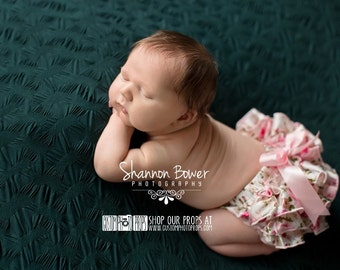 Floral Satin Ruffle Diaper Cover, Newborn Baby Photography Props in 0-3 Mo - Newborn Photo Props, Bloomers, Girl Props, Ruffle