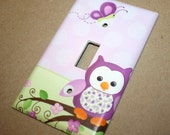 Purple Owl Girls Bedroom Single Light Switch Cover