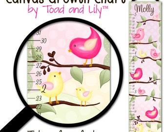 Canvas GROWTH CHART Tweetest Birdie Girls Bedroom Baby Nursery Wall Art GC0160
