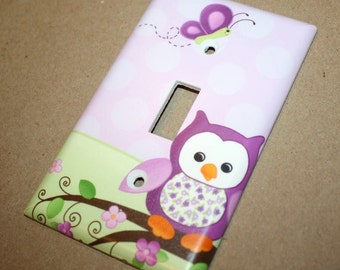 Purple Owl Girls Bedroom Single Light Switch Cover LS0053