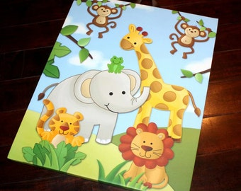 Jungle Animal Stretched Canvas Children's Bedroom Wall Art CS0025