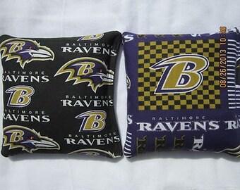 Baltimore Ravens Fabric Cornhole Bags -FREE SHIPPING- Set of 8 Baltimore Ravens Cornhole Bags or Baggo Bean Bag Toss -