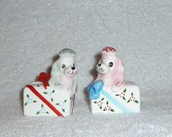 Vintage Anthropomorphic PY Poodle Dog Present Gift Box Salt Pepper Shakers Pink Blue Red