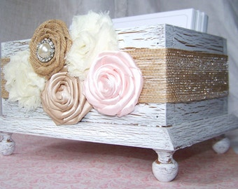 Wedding Guest Book Box - Basic Style, White Shabby Chic Box - Burlap Ribbon with Blush, Ivory and Champagne Flowers, Custom colors available