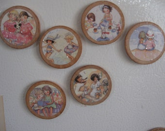 Set of Six Vintage Style Circle Wooden Magnets Becky Kelly Friends