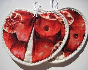 Hot pad heart shape pot holder  set Pomegranates