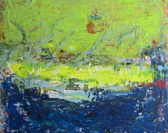 SALE, GREEN HOPES, Modern Painting, Abstract Landscape, Green Blue Contemporary Art by Francine Ethier, 24x24 inches