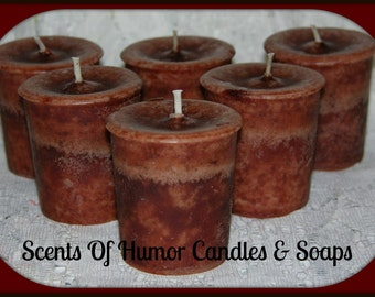 6 HAZELNUT TRUFFLES Scented Votive Candles - Handmade Votive Candles - Brown Mottled Wax - Very Highly Scented - Set of 6 - Gift Boxed