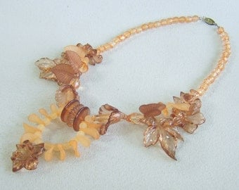 Vintage Translucent Lucite Necklace Flowers Leaves Autumn Statement
