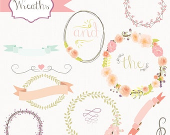 Instant Download - Floral Wreath Vectors: Digital Clipart Set