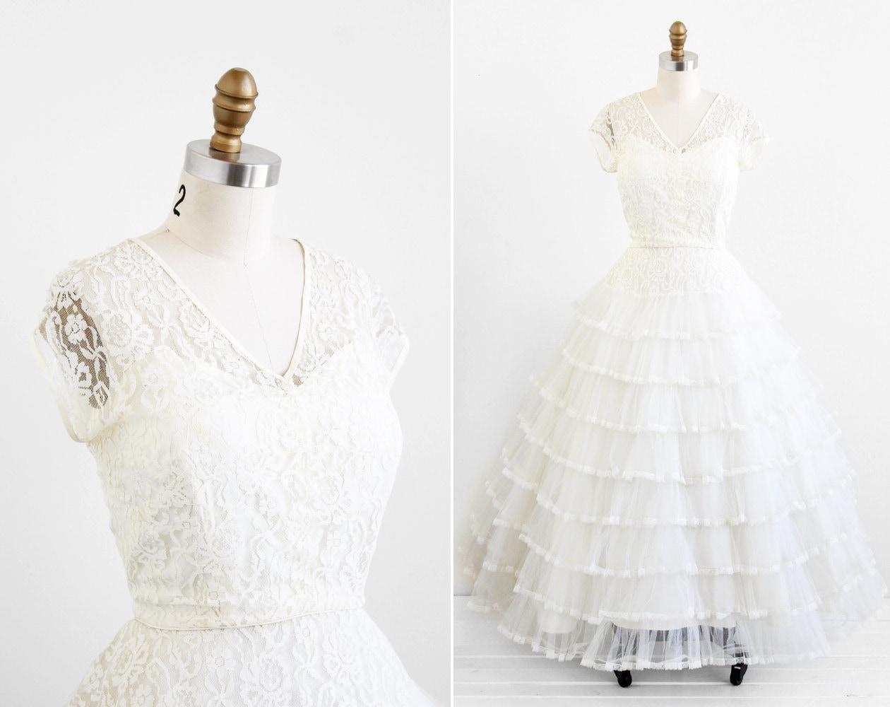 vintage 1950s wedding dress plus size wedding dress White