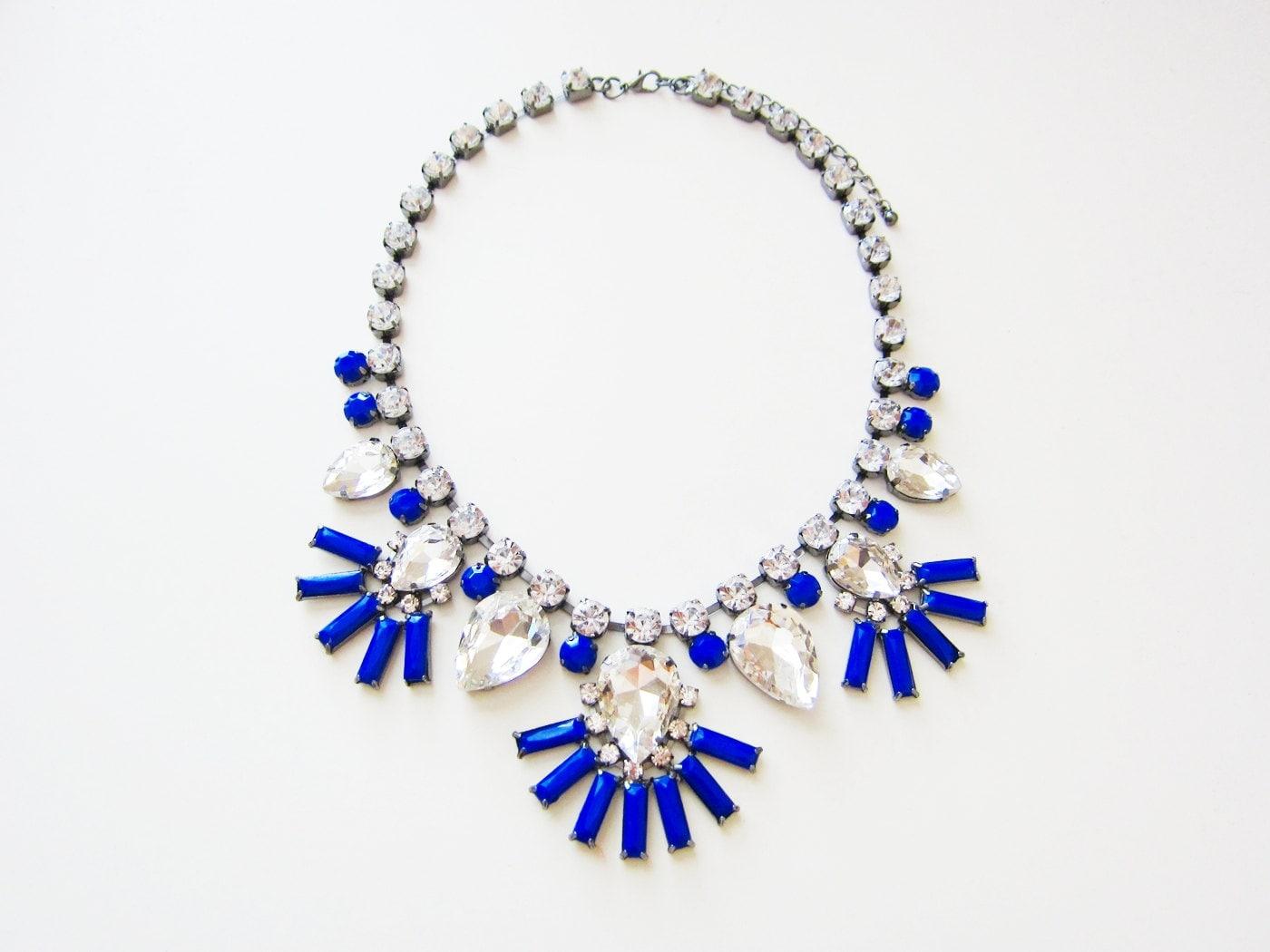 luxe cobalt blue statement necklace