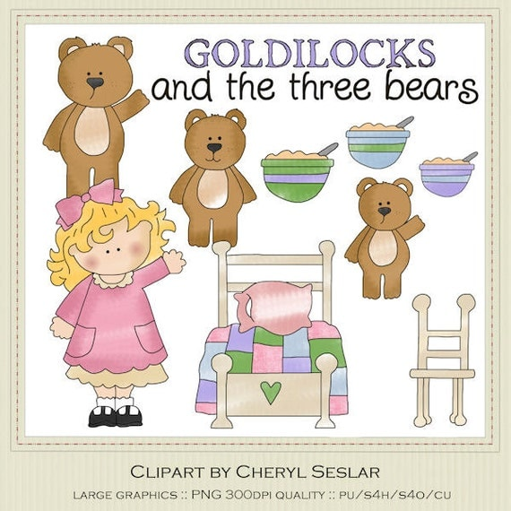 Goldilocks and the Three Bears Clipart by Cheryl Seslar