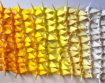 100 Small Origami Cranes Origami Paper Cranes - Made of 7.5cm 3 inches Japanese Paper - Yellow White