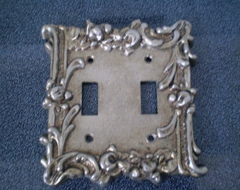 Vintage Art Deco Double Toggle Light  Switch Plate