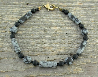 Obsidian and Black Onyx Unisex or Mens Anklet in Small to Large Sizes