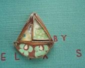 Destash! Copper, Resin Mixed Media Sailboat pendant by Jade Scott