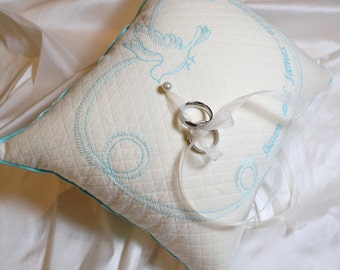 WEDDING RINGS PILLOW - Something Blue -  Embroidered With Your Names and Date - Tiffany Blue - Many Fabrics and Colors