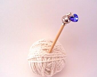 Swarovski Heart or Shamrock Scarf or Shawl Pin, Hair Stick