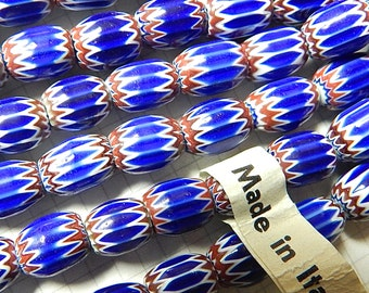 Vintage Small Chevron Glass Beads (12)