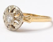 Vintage Diamond Ring Mid Century 14K Gold Cluster Engagement Right Hand Flower Size 5.5 Gift for Her