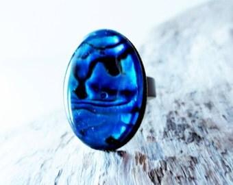 Blue paua ring.  Paua shell ring.  Dark blue ring.  18x25 ring.  Blue paua shell.  Abalone ring.