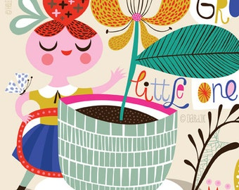 Grow, Little One, Grow... - limited edition giclee print of an original illustration (8 x 10 in)