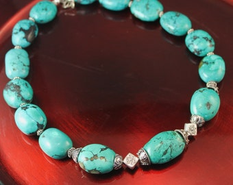 The Oriana Genuine Turquoise Nugget and Bali Sterling Silver Bead Necklace With Sterling S Clasp and Extender Chain