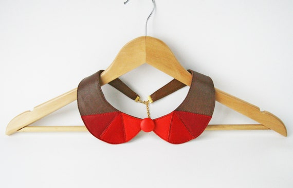 Poppy Red and Brown Leather Bib Necklace Statement Leather Necklace Geometric Triangles Necklace Europeanstreetteam