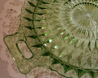 BEAUTIFIUL Vintage Pressed Glass Kelly Green Handled Tray - (Credit Cards Accepted)