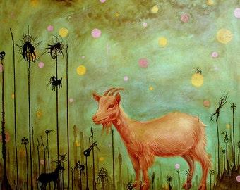 Goat Wonderland Pop Surrealistic goat portrait.