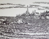 The North Lights, Copper Harbor, MI - hand pulled woodblock print - Artists Proofs
