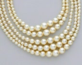 Faux Pearl Necklace. Five Strand. Japan.