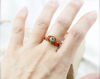 PIF - Size 6.5 - Tiny millefiori bead wire wrapped ring