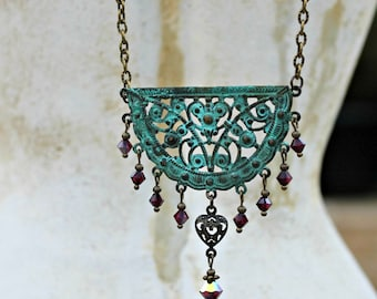 Bohemian Chandelier Crescent Bib Necklace, Patina, Teal, Ruby Red, Crystal Dangle, Turquoise