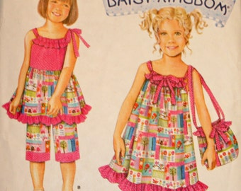 Child's Dress, Top, Capri Pants and Bag, Sewing Pattern, Simplicity 2433, Child's Size 3 through 8, UNCUT, FF