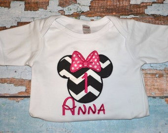 Black Chevron Birthday  Minnie Mouse Shirt - Disney Trips, and for the Love of Minnie--Free Personalization