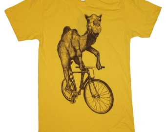 Mens Camel T Shirt - Camel on a Bike - American Apparel