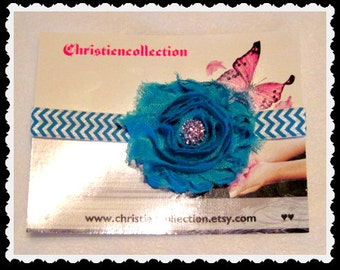 Turquoise ShabbyChic Baby Chevron soft stretchy headband and matching flower and bling