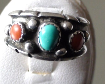 Zuni Milton Lasiloo Ring Band Coral Turqouise and sterling silver  Size 7 Vintage Art Indian Soutwest Wedding Band Navajo