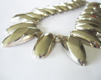 Spiked Collar Necklace, Silver, 1970's, Chunky, Statement Necklace, Tribal, Runway Choker, Photoshoots