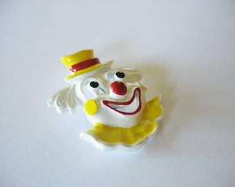 Clown Brooch Enamel Gerry's Yellow White Red Black 1970's