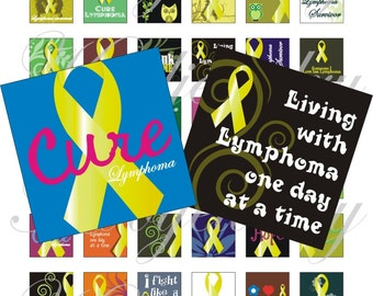 Lymphoma Awareness 1x1 inch for pendant, scrapbook and more collage sheet No.1322