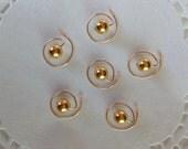 Golden Faux Pearls Hair Swirls Hair Spins Spirals Twists Coils
