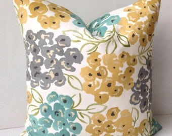 Decorative Throw Pillow Cover Cushion Accent Gray Yellow Pillow Teal Floral 16, 18 or 20 Inches