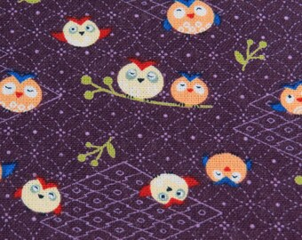 2382E -- Kawaii Owls, Cute Night Birds Fabric, Japanese Kimono Owls in Dark Purple